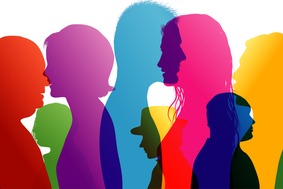 Diverse and colorful silhouettes of people